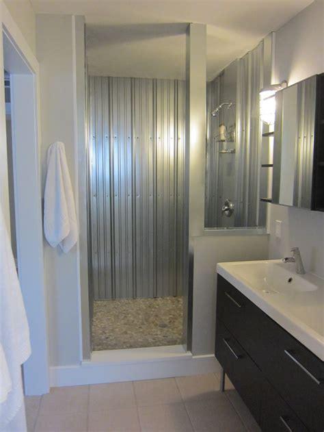corrugated shower bathrooms