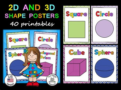 printable 3d shapes poster shape posters 2d 3d us version 40 printables by
