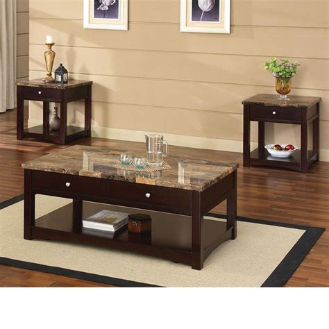 Espresso Coffee Table And End Tables Dreamfurniture Jas Espresso Finish Coffee End Table