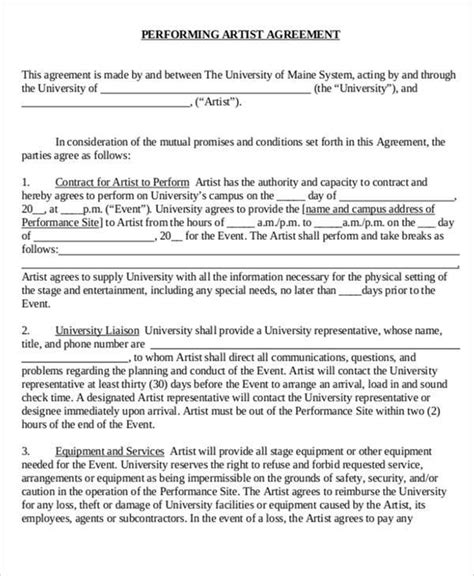 43 Contract Agreement Formats Sle Templates Artist Performance Contract Template