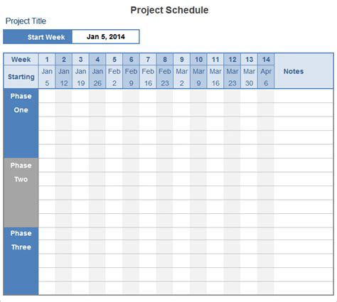 project schedule template 14 free excel documents