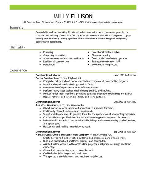construction job resume unique resume sample for construction worker