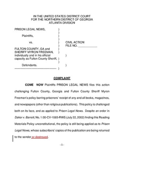 Fulton County Civil Court Search Prison News V Freeman Complaint Fulton County