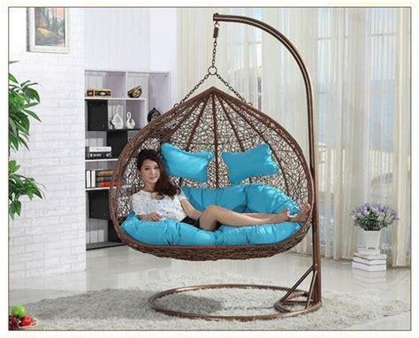 rattan double seats hanging casual swing chair  garden