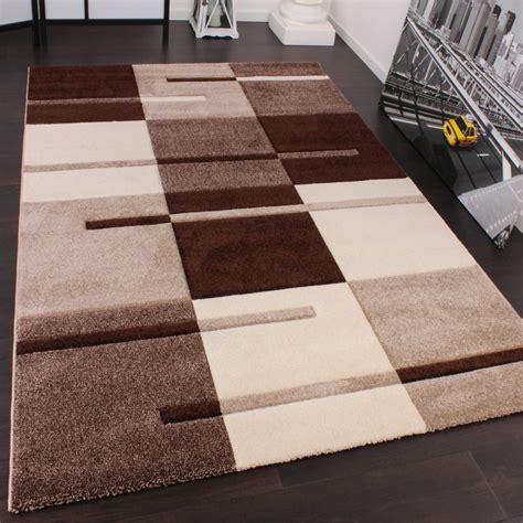 teppich beige braun designer teppich mit konturenschnitt karo muster beige