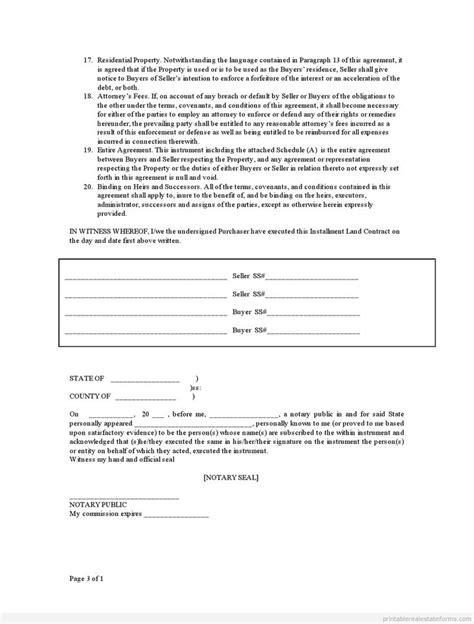 sle printable contract for deed form printable real
