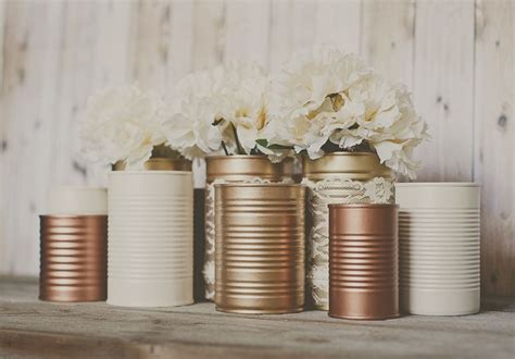 tin centerpieces painted tin cans copper bronze gold and ivory