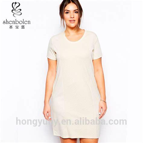 professional dress for obese gaun kasual untuk wanita gemuk kru leher lengan pendek