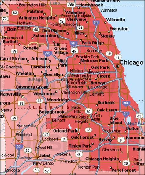 cook county map cook county illinois color map