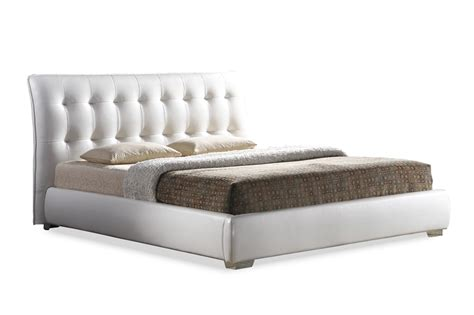 baxton studio jeslyn white modern bed with tufted