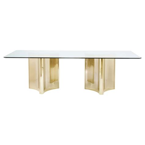 Glass Pedestal Dining Table Modern Sleek Gold Pedestal Glass Dining Table Kathy Kuo Home