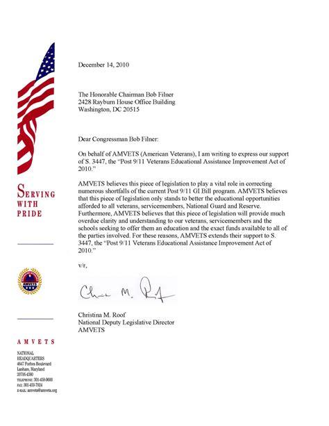 Legislative Support Letter Template American Veteran Amvets Supports G I Bill Fixes