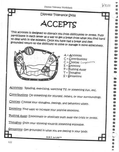 Dbt Accepts Worksheet by Distress Tolerance Worksheets Lesupercoin Printables Worksheets
