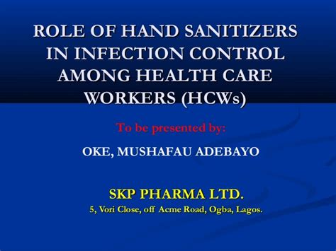 role  hand sanitizers  infection control  health care workers