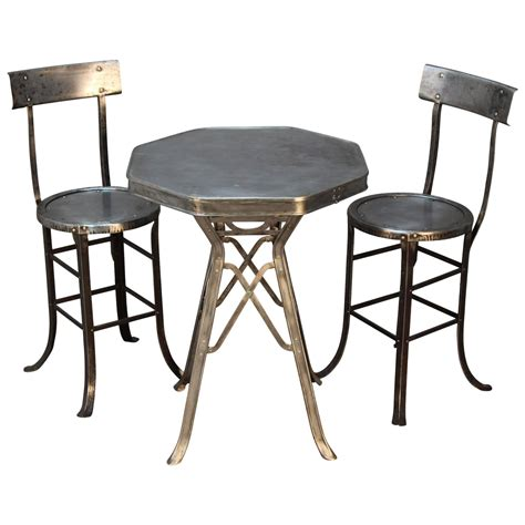 Industrial Bistro Table Industrial Bistro Table And Chair Set At 1stdibs