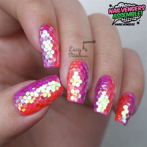 nail art tutorial how to create a glitter gradient using neon lucy s stash