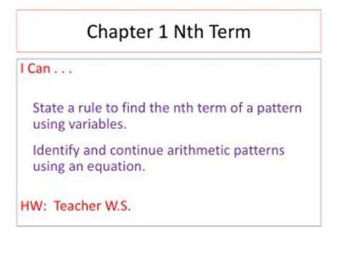 make pattern rule variable ppt 12 5 sigma notation and the nth term powerpoint
