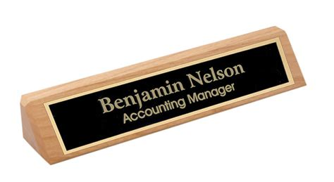 personalized alder wood name plate bar w gold trim office