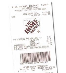 home depot also enjoys printing words on receipts