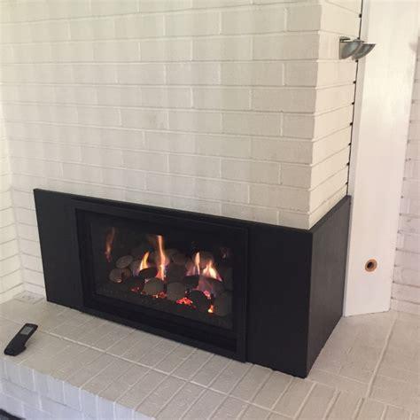 Sided Gas Fireplace Inserts by Gas Insert Into Multi Sided Masonry Fireplace Custom