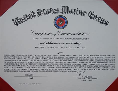 usmc certificate of commendation template choice image