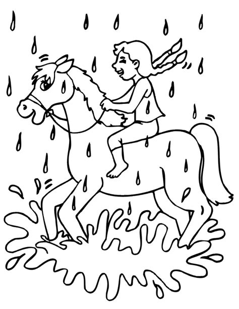 coloring page girl riding horse girl riding a horse coloring page riding in the rain
