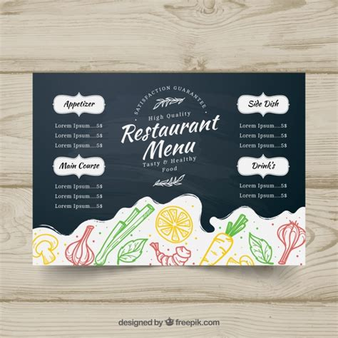 horizontal menu templates free blackboard menu template in horizontal format vector