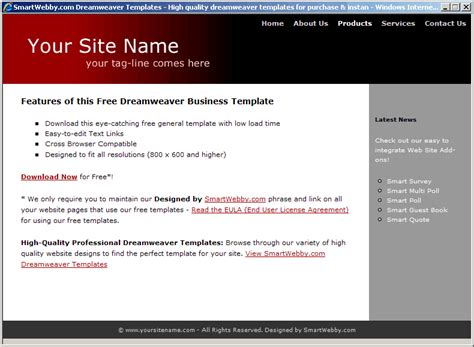 dreamweaver templates free html dreamweaver templates free business