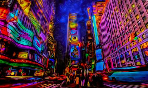 Canopy Beds Curtains times square psychedelic art photograph by ron fleishman