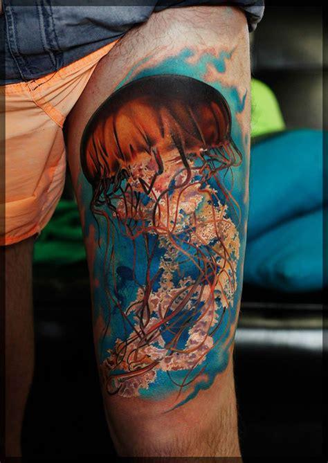 jellyfish tattoos jellyfish thigh best design ideas