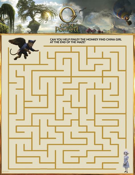 great sheets oz the great and powerful printable maze mama likes this