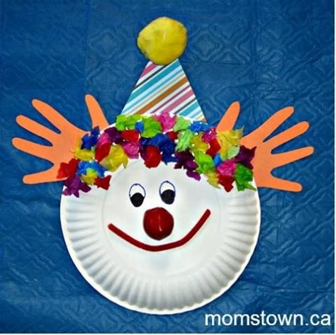 clown paper plate craft circus momstown arts and crafts birthday ideas