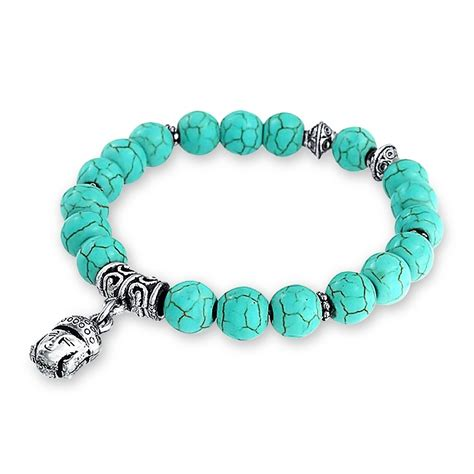 turquoise for jewelry turquoise dangling baby buddha charms stretch bracelet 8mm