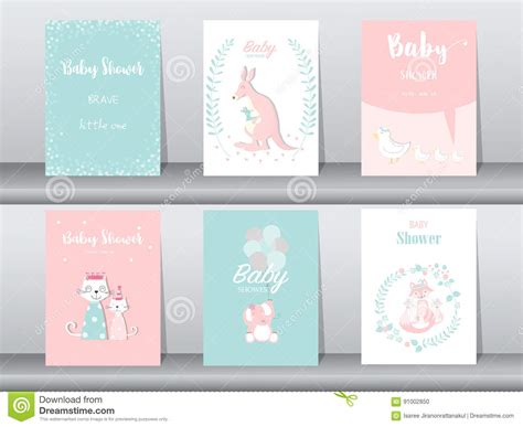 baby birthday cards template set of animals poster template cards cats vector