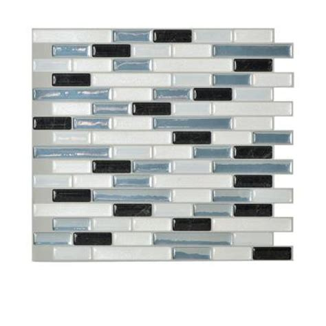 Self Adhesive Kitchen Backsplash Tiles Smart Tiles Muretto Brina 9 1 In X 10 2 In Self Adhesive Decorative Wall Tile Backsplash In