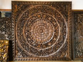Wooden Wall Hanging Large Carved Wood Panel Teak Wood Wall Hanging By Siamsawadee