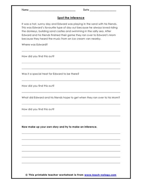 Inference Worksheets by Spot The Inference
