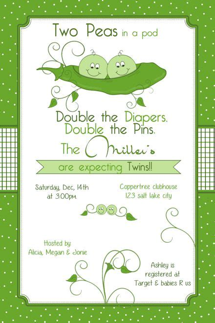 Pea In A Pod Baby Shower Invitations by Two Peas In A Pod Baby Shower Invitation Printable
