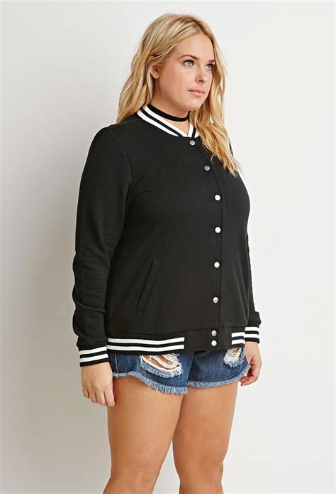 Varsity Plus forever 21 plus size varsity striped baseball jacket in