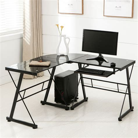 Home Office Corner Workstation Desk L Shape Corner Computer Desk Pc Glass Laptop Table Workstation Home Office Black Ebay