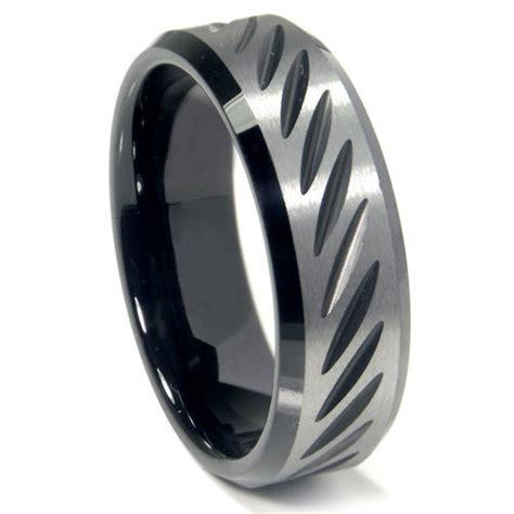black tungsten carbide 8mm cut beveled wedding