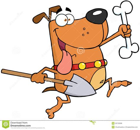 with a bone running with a bone and shovel stock vector image 28720098