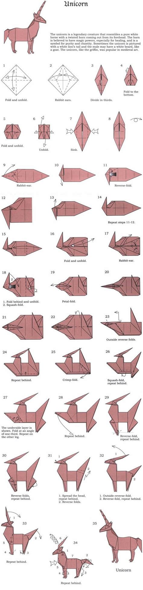 unicorn origami pattern origami unicorn 1 35 complete diagram things i love