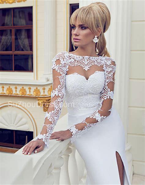 Bateau Lace Sexy Wedding Dresses 2018 Long Sleeve Side Slit Court Train Chiffon Bridal Gowns