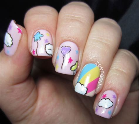 pedicure colors to the stars zoendout nails rainbows clouds balloons oh my