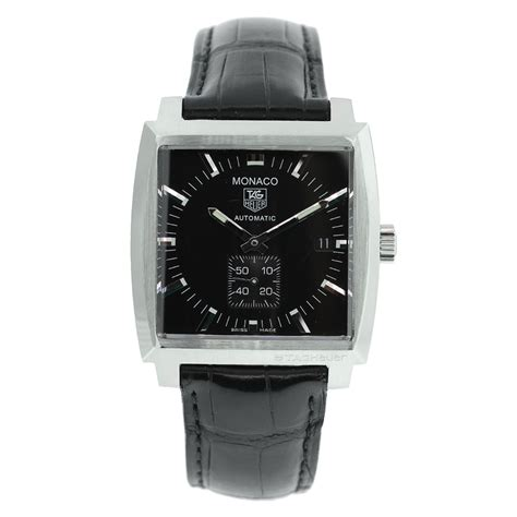 tag heuer monaco ww2110 on leather black automatic