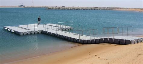 floating boat jetty a pontoon as a temporary jetty for boat access to the