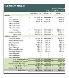 Personal Income Statement Template by Sle Income Statement Template 9 Free Documents In