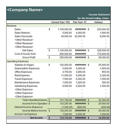 income statement template xls sle income statement template 11 free documents in