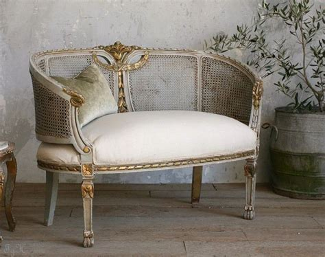 shabby chic vintage french seafoam blue gilt cane settee